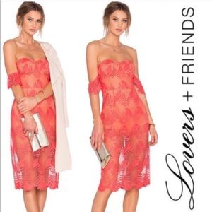 NWT Lovers + Friends Breathless Lace midi dress